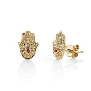 Серьги пусеты Хамса с бриллиантами и рубинами