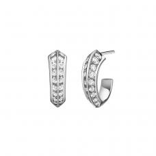 Серьги колечки с бриллиантами на гранях