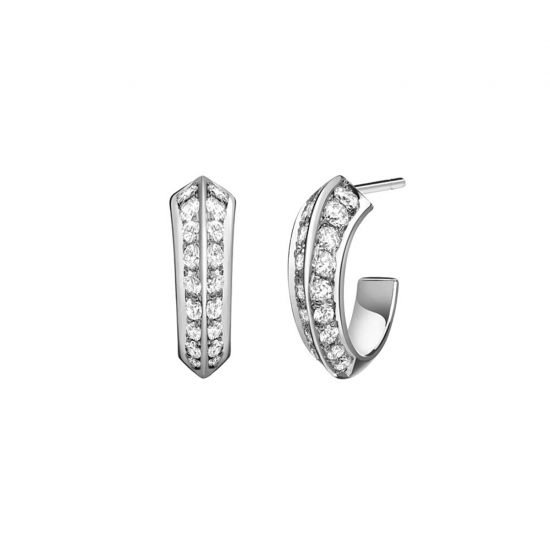 Серьги колечки с бриллиантами на гранях, Больше Изображение 1