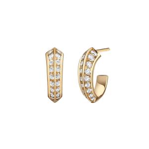 Серьги маленькие колечки с бриллиантами