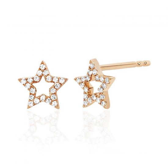 Серьги Звездочки с бриллиантами, Больше Изображение 1