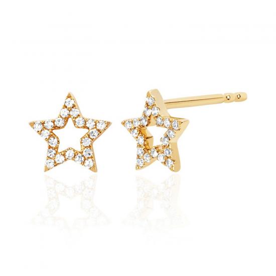 Серьги пусеты звездочки с бриллиантами, Больше Изображение 1