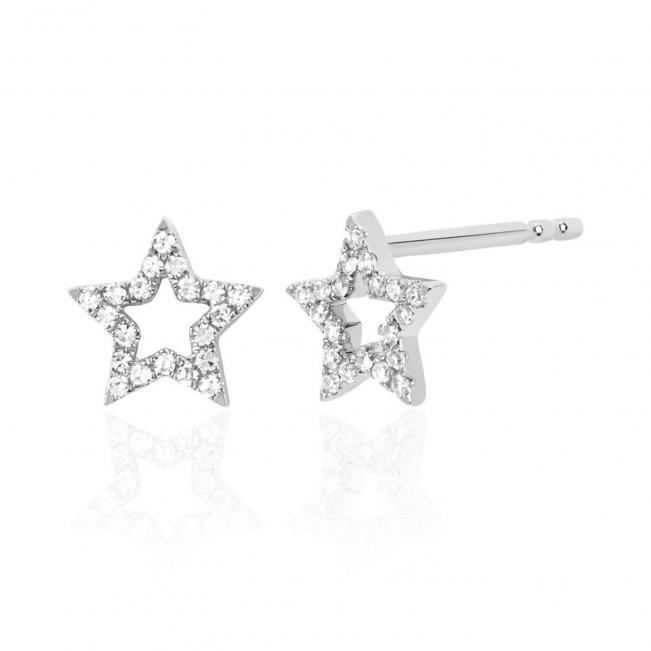 Серьги пусеты звездочки с бриллиантами