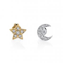 Серьги Звездочка с бриллиантами