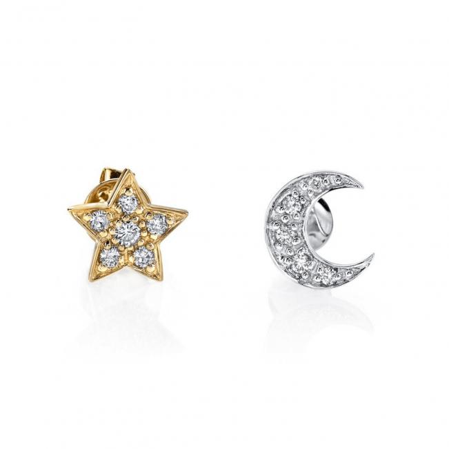 Серьги пусеты звездочка и месяц с бриллиантами