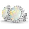 Серьги пусеты с круглым опалом и бриллиантами, Изображение 2
