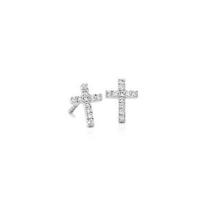 Серьги пусеты крестики из белого золота