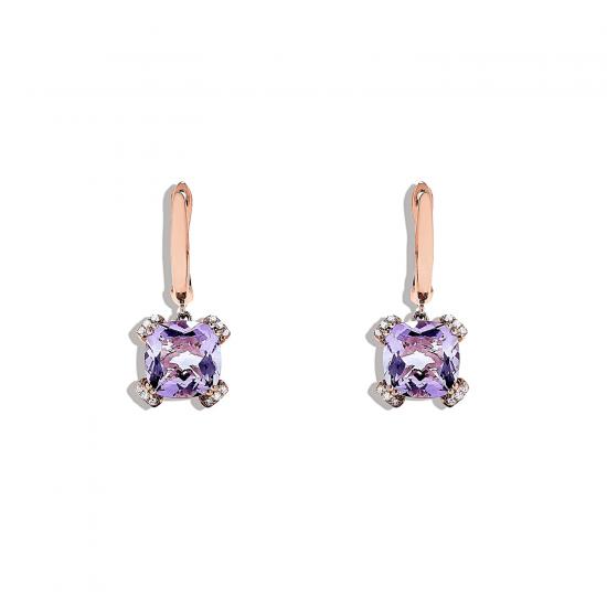 Серьги с аметистом и бриллиантами, Больше Изображение 1