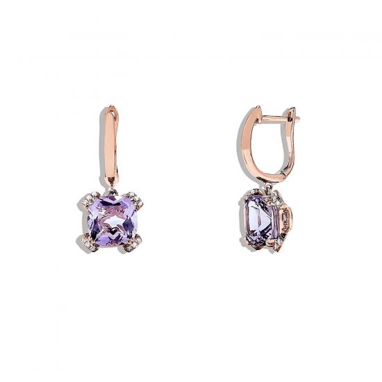 Серьги с аметистом и бриллиантами,  Больше Изображение 2