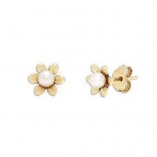 Серьги пусеты с жемчугом Цветок