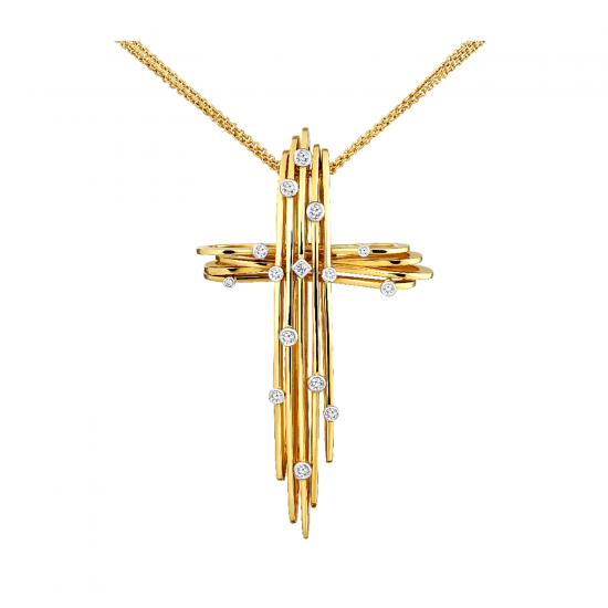 Подвеска Крестик с бриллиантами, Больше Изображение 1