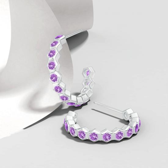 Серьги кольца с аметистами Miel 0.36 карата,  Больше Изображение 3