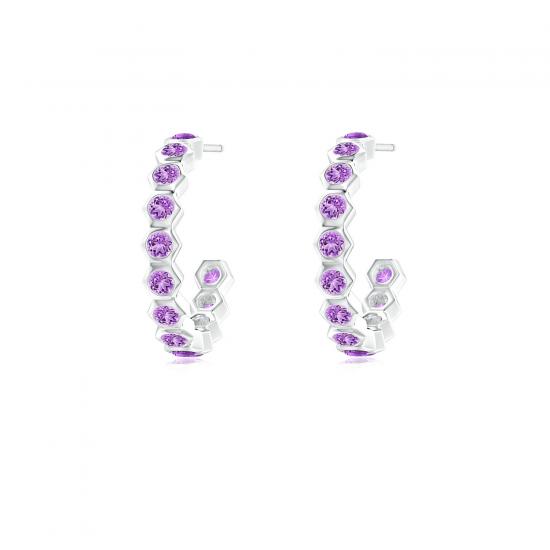 Серьги кольца с аметистами Miel 0.36 карата, Больше Изображение 1