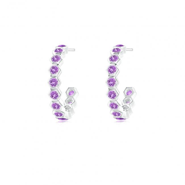 Серьги кольца с аметистами Miel 0.36 карата
