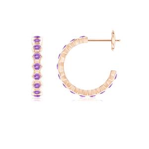Серьги кольца с аметистом Miel