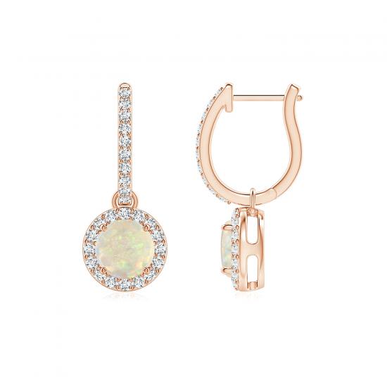 Серьги кольца с опалами из розового золота, Больше Изображение 1