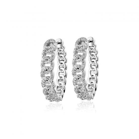 Серьги колечки Цепи с бриллиантами, Больше Изображение 1