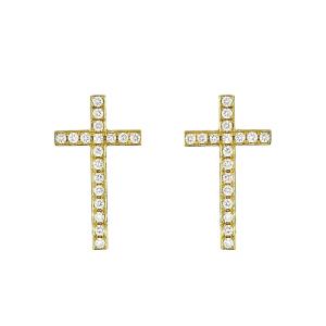 Серьги пусеты длинные крестики
