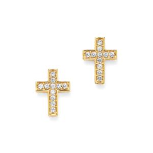 Серьги пусеты крестики из желтого золота