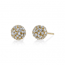 Серьги пусеты шарики с бриллиантами 2.54 карата