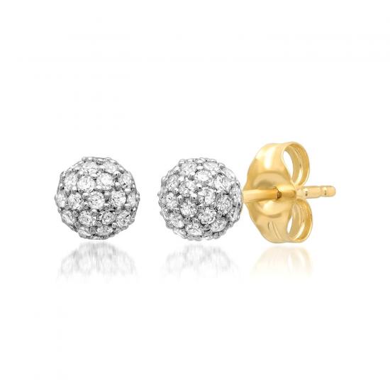 Пусеты шарики с бриллиантами, Больше Изображение 1