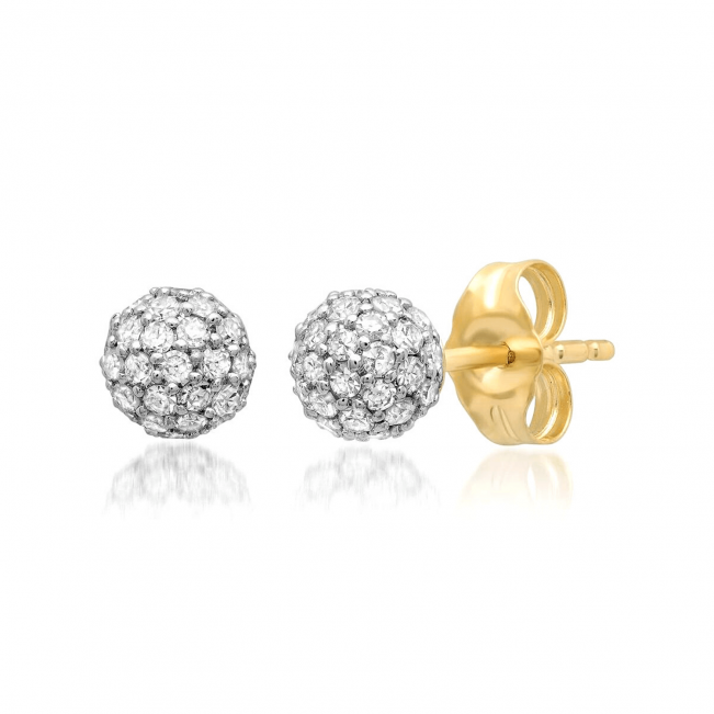 Пусеты шарики с бриллиантами