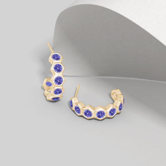 Серьги колечки из золота с танзанитами Miel,  Больше Изображение 4