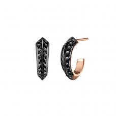Серьги колечки 13 мм с черными бриллиантами