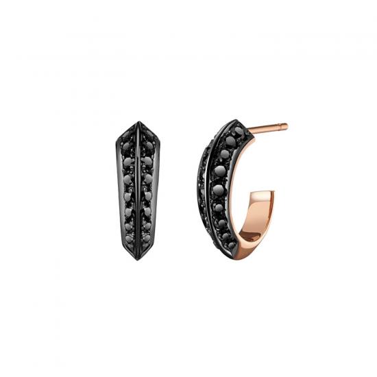 Серьги колечки 13 мм с черными бриллиантами, Больше Изображение 1