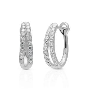 Серьги двойные колечки с бриллиантами