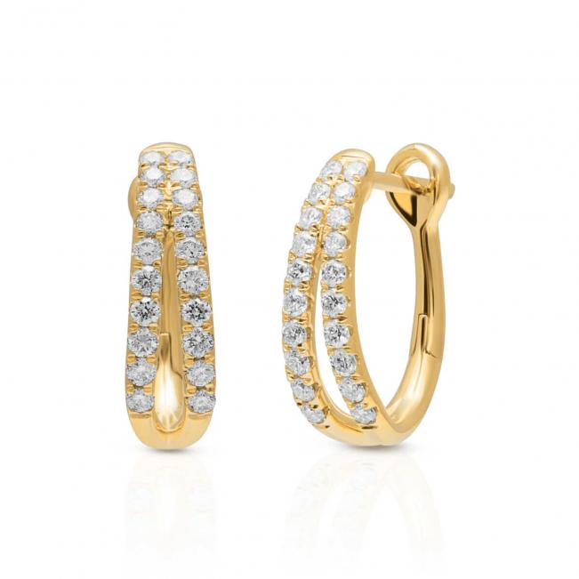 Серьги золотые двойные колечки с бриллиантами