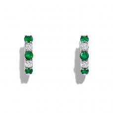Серьги колечки с изумрудами и бриллиантами