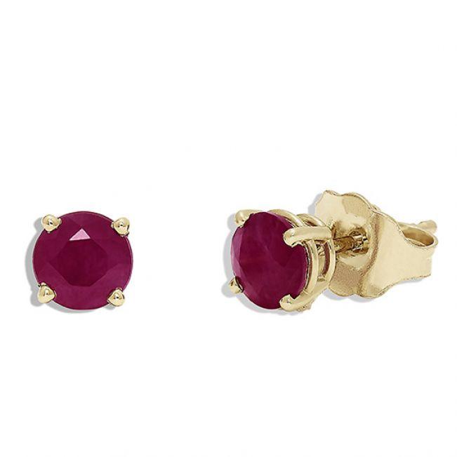 Золотые сережки с рубином - Фото 1