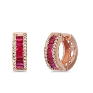 Серьги кольца с рубинами багетами и бриллиантами