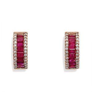 Серьги кольца с рубинами багетами и бриллиантами - Фото 1