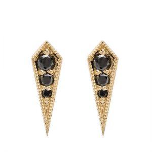 Сережки с черным бриллиантом