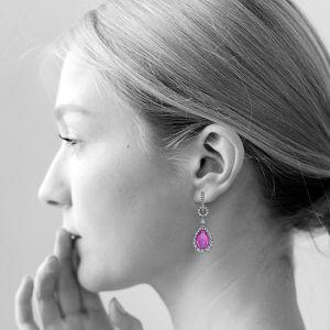 Серьги с розовыми сапфирами - Фото 1
