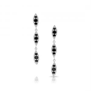 Серьги длинные с черным сапфиром