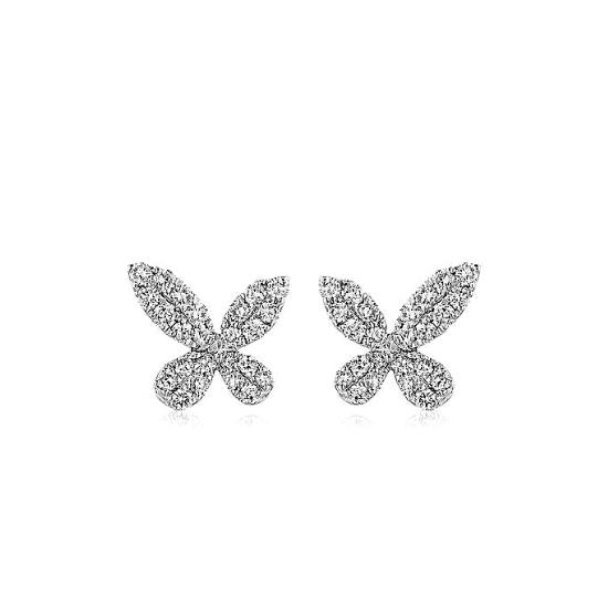 Серьги бабочки с бриллиантами, Больше Изображение 1