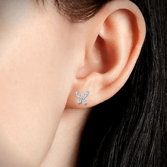 Серьги бабочки с бриллиантами,  Больше Изображение 2
