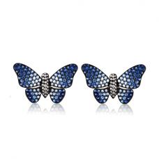Серьги бабочки с бриллиантами и сапфирами