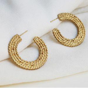 Плетеные серьги из золота 585 пробы - Фото 1