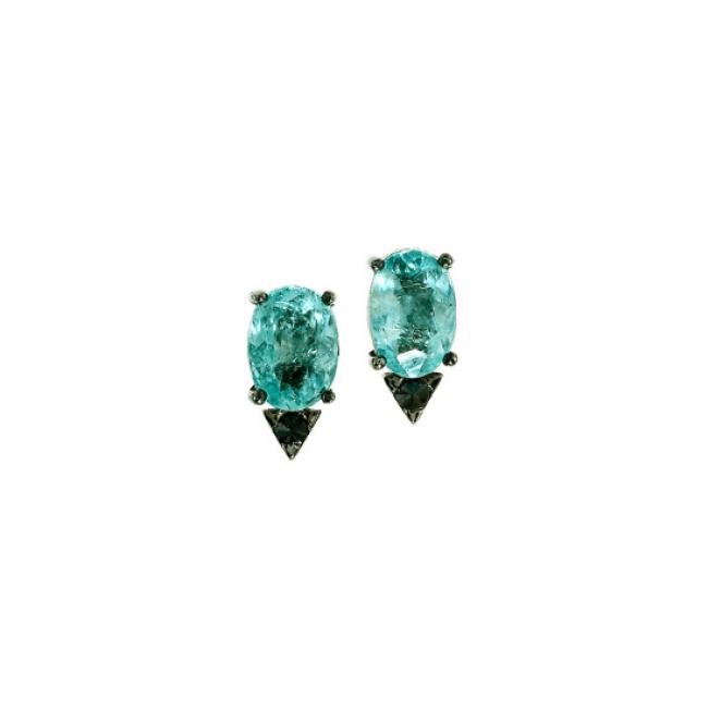 Серьги пусеты с турмалином параиба и черным бриллиантом
