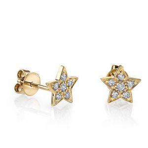 Маленькие серьги пусеты со Звездами с бриллиантами из желтого золота