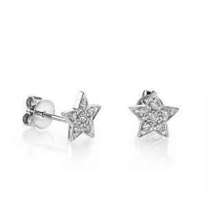 Маленькие серьги пусеты со Звездами с бриллиантами из белого золота