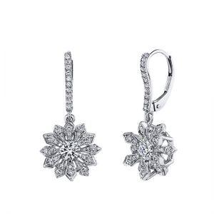Серьги на петле Снежинки с бриллиантами
