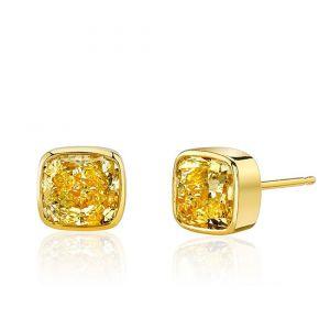 Серьги пусеты с желтыми бриллиантами