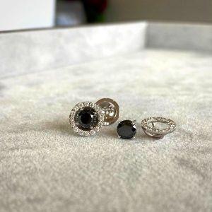 Серьги пусеты трансформеры с черными бриллиантами 5 мм в ореоле