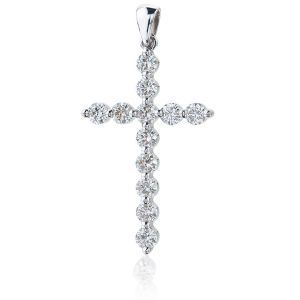 Крестик с 12 бриллиантами из белого золота
