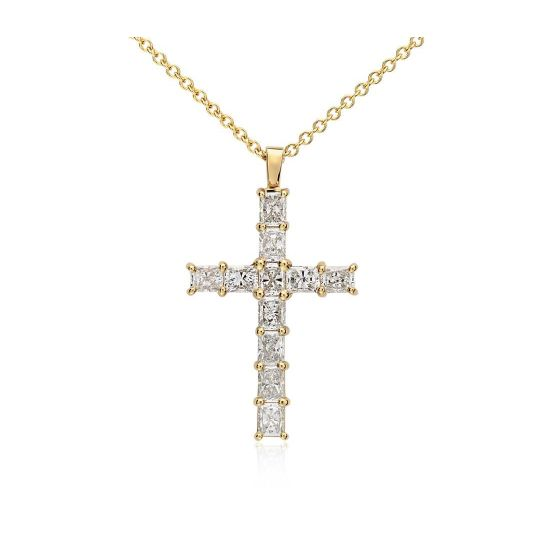 Крестик с 11 бриллиантами огранки радиант, Больше Изображение 1